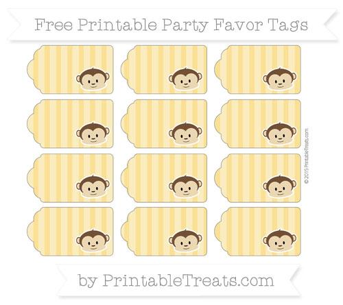 Free Saffron Yellow Striped Boy Monkey Party Favor Tags