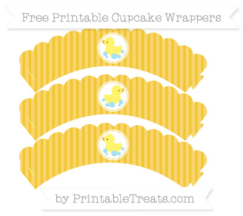 Free Saffron Yellow Thin Striped Pattern Baby Duck Scalloped Cupcake Wrappers