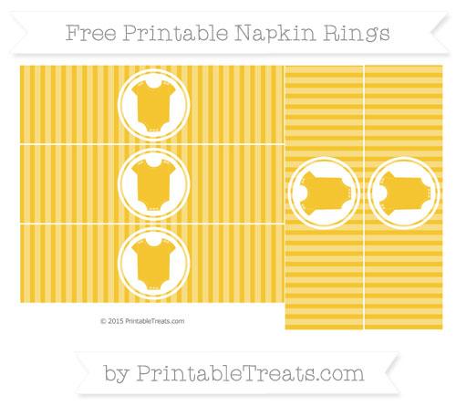 Free Saffron Yellow Thin Striped Pattern Baby Onesie Napkin Rings