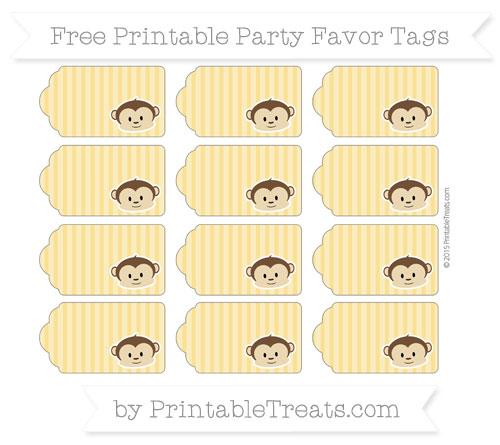 Free Saffron Yellow Thin Striped Pattern Boy Monkey Party Favor Tags
