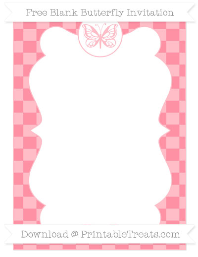 Free Salmon Pink Checker Pattern Blank Butterfly Invitation