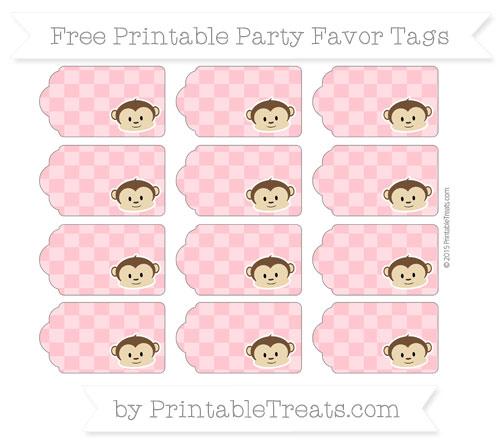 Free Salmon Pink Checker Pattern Boy Monkey Party Favor Tags