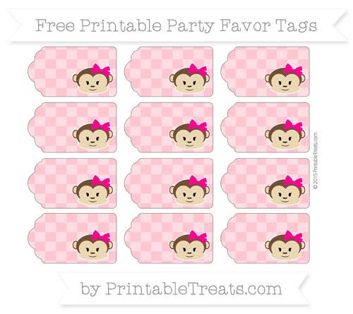 Free Salmon Pink Checker Pattern Girl Monkey Party Favor Tags