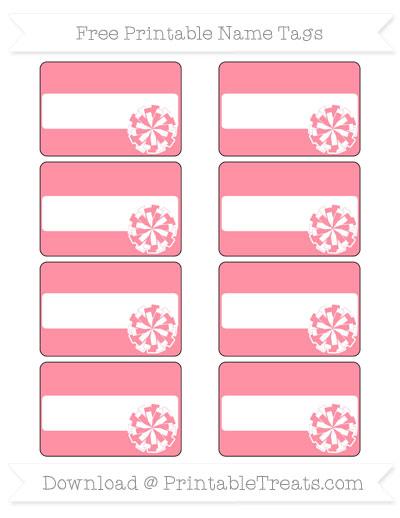 Free Salmon Pink Cheer Pom Pom Tags