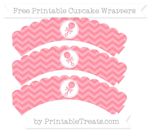 Free Salmon Pink Chevron Baby Rattle Scalloped Cupcake Wrappers