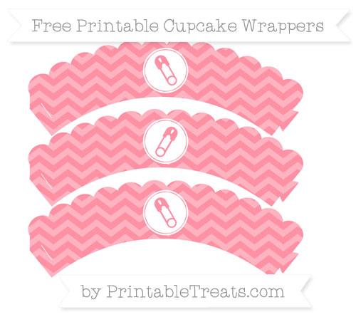 Free Salmon Pink Chevron Diaper Pin Scalloped Cupcake Wrappers