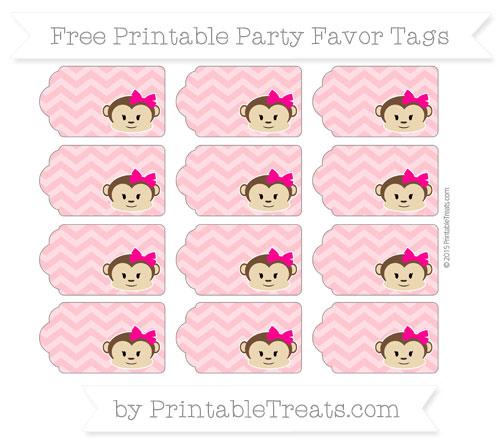 Free Salmon Pink Chevron Girl Monkey Party Favor Tags