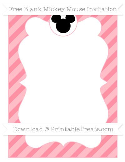 Free Salmon Pink Diagonal Striped Blank Mickey Mouse Invitation