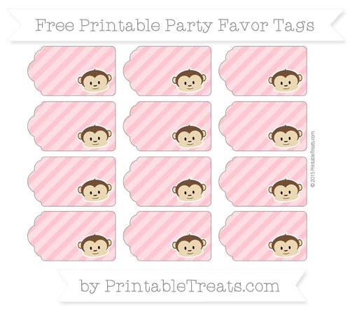 Free Salmon Pink Diagonal Striped Boy Monkey Party Favor Tags