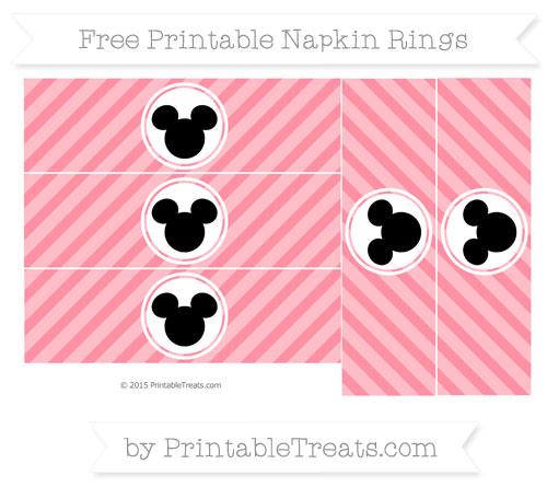Free Salmon Pink Diagonal Striped Mickey Mouse Napkin Rings