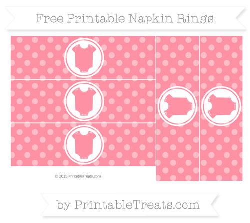 Free Salmon Pink Dotted Pattern Baby Onesie Napkin Rings