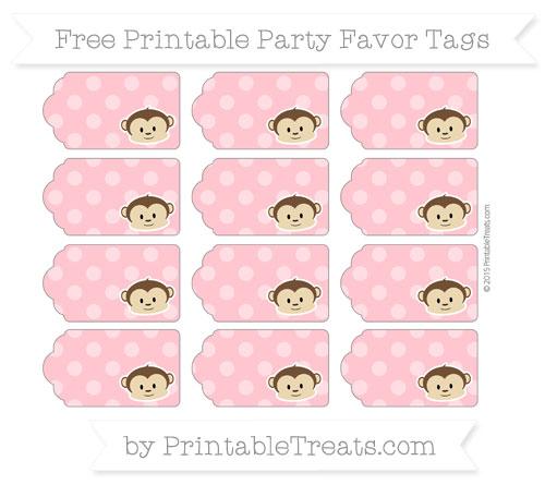 Free Salmon Pink Dotted Pattern Boy Monkey Party Favor Tags