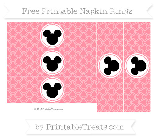 Free Salmon Pink Fish Scale Pattern Mickey Mouse Napkin Rings