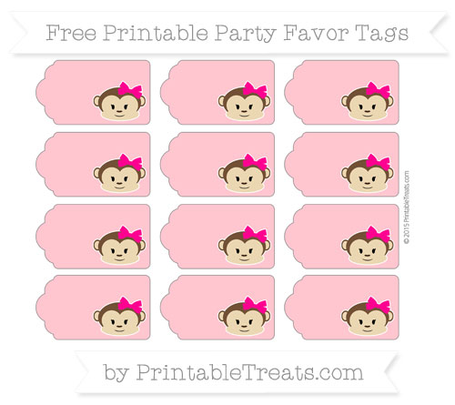 Free Salmon Pink Girl Monkey Party Favor Tags
