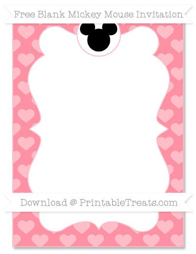 Free Salmon Pink Heart Pattern Blank Mickey Mouse Invitation