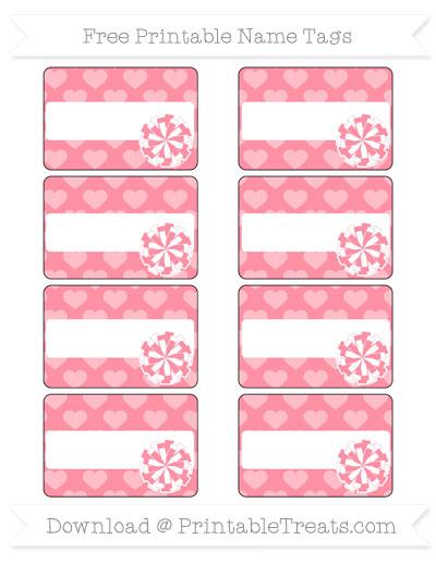 Free Salmon Pink Heart Pattern Cheer Pom Pom Tags