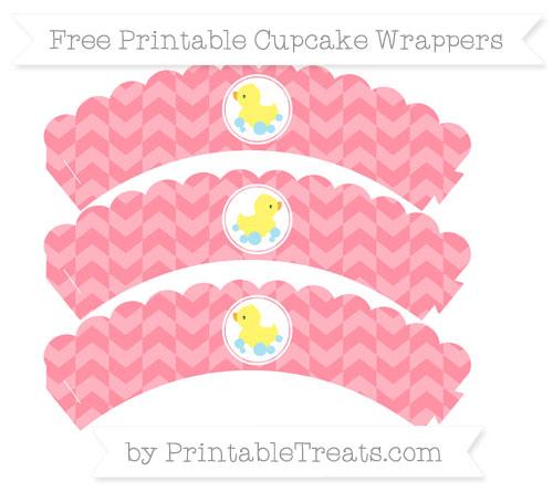 Free Salmon Pink Herringbone Pattern Baby Duck Scalloped Cupcake Wrappers