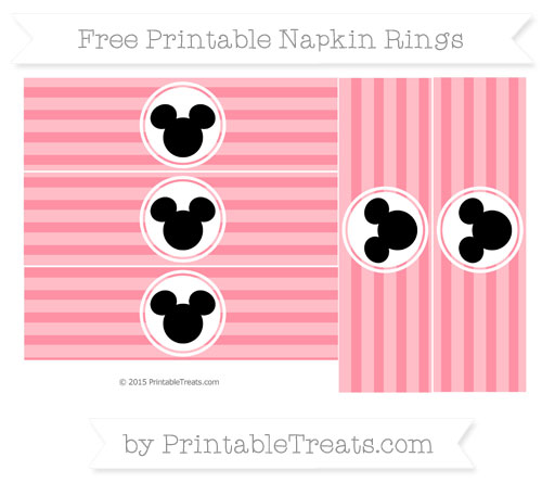 Free Salmon Pink Horizontal Striped Mickey Mouse Napkin Rings