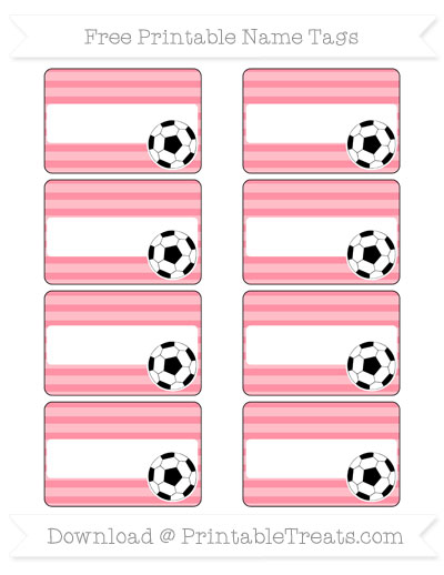 Free Salmon Pink Horizontal Striped Soccer Name Tags