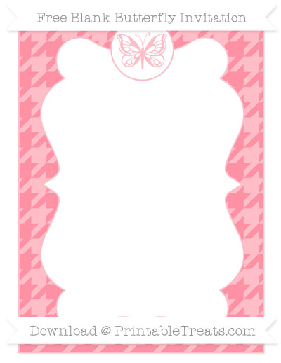 Free Salmon Pink Houndstooth Pattern Blank Butterfly Invitation