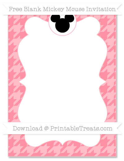 Free Salmon Pink Houndstooth Pattern Blank Mickey Mouse Invitation