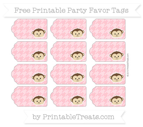Free Salmon Pink Houndstooth Pattern Boy Monkey Party Favor Tags