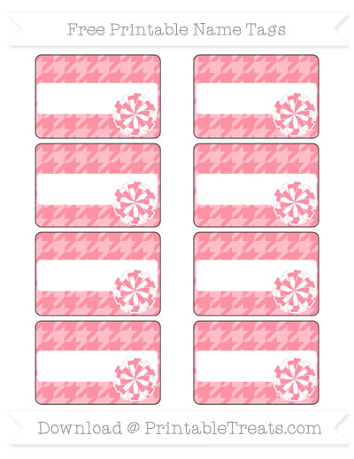 Free Salmon Pink Houndstooth Pattern Cheer Pom Pom Tags