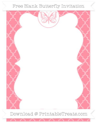 Free Salmon Pink Moroccan Tile Blank Butterfly Invitation