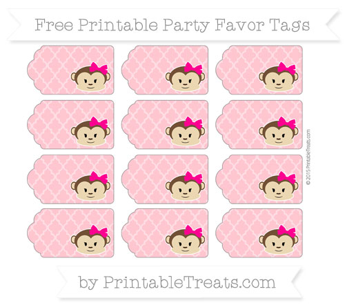Free Salmon Pink Moroccan Tile Girl Monkey Party Favor Tags