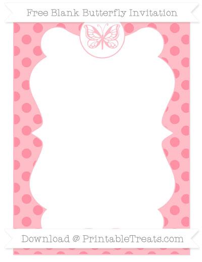Free Salmon Pink Polka Dot Blank Butterfly Invitation