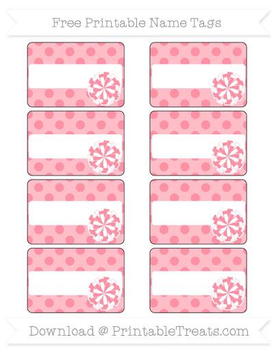 Free Salmon Pink Polka Dot Cheer Pom Pom Tags