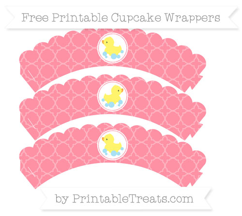 Free Salmon Pink Quatrefoil Pattern Baby Duck Scalloped Cupcake Wrappers