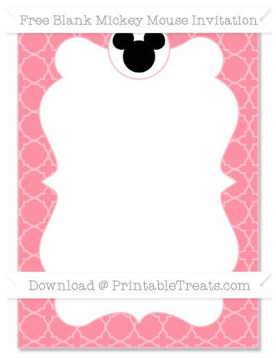 Free Salmon Pink Quatrefoil Pattern Blank Mickey Mouse Invitation