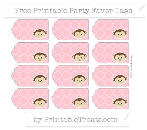 Free Salmon Pink Quatrefoil Pattern Boy Monkey Party Favor Tags