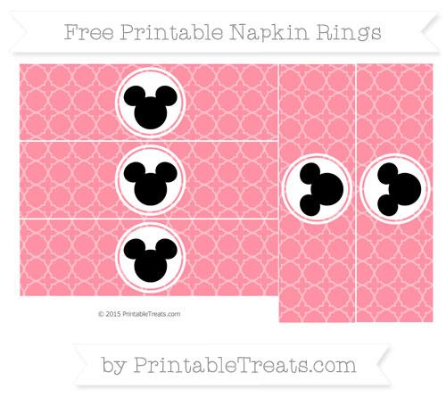 Free Salmon Pink Quatrefoil Pattern Mickey Mouse Napkin Rings