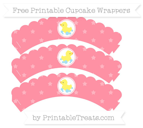 Free Salmon Pink Star Pattern Baby Duck Scalloped Cupcake Wrappers