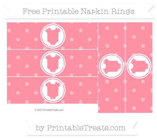 Free Salmon Pink Star Pattern Baby Onesie Napkin Rings