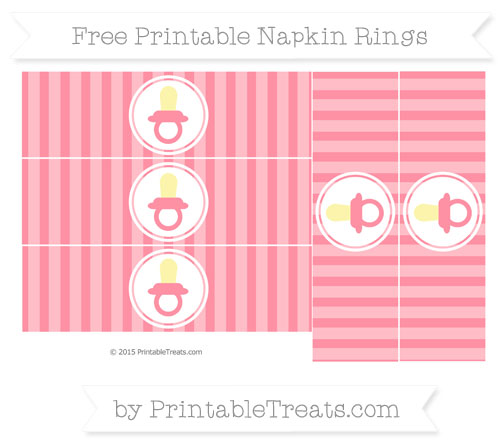 Free Salmon Pink Striped Baby Pacifier Napkin Rings
