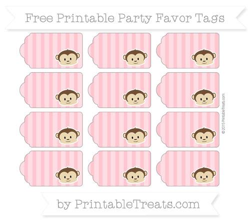 Free Salmon Pink Striped Boy Monkey Party Favor Tags