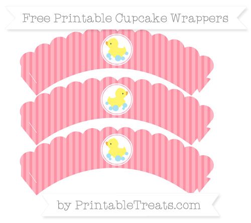 Free Salmon Pink Thin Striped Pattern Baby Duck Scalloped Cupcake Wrappers