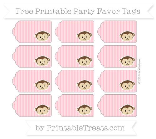 Free Salmon Pink Thin Striped Pattern Boy Monkey Party Favor Tags