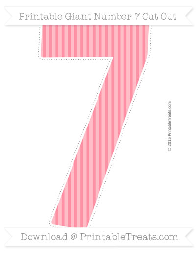 Free Salmon Pink Thin Striped Pattern Giant Number 7 Cut Out