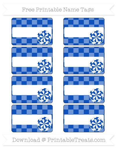 Free Sapphire Blue Checker Pattern Cheer Pom Pom Tags