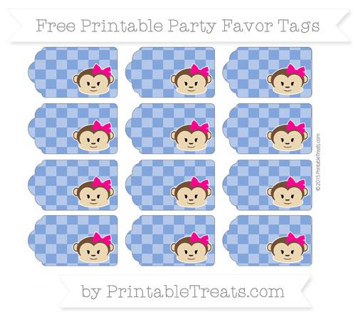 Free Sapphire Blue Checker Pattern Girl Monkey Party Favor Tags