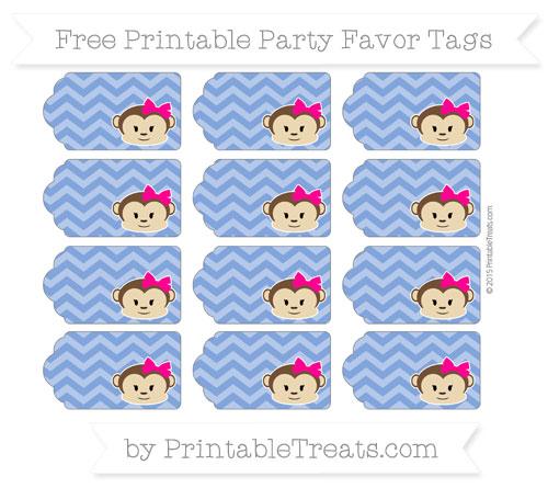 Free Sapphire Blue Chevron Girl Monkey Party Favor Tags