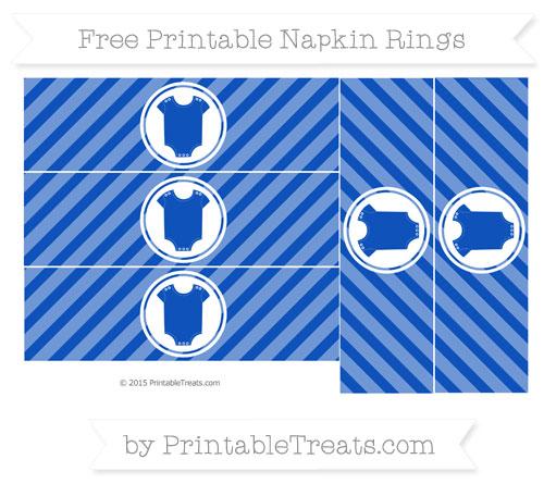 Free Sapphire Blue Diagonal Striped Baby Onesie Napkin Rings