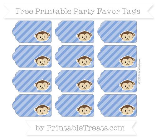 Free Sapphire Blue Diagonal Striped Boy Monkey Party Favor Tags