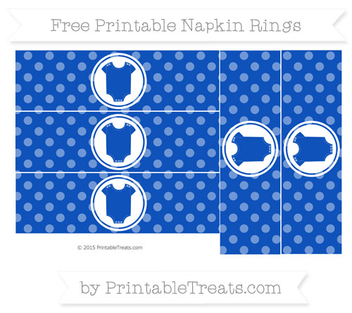 Free Sapphire Blue Dotted Pattern Baby Onesie Napkin Rings
