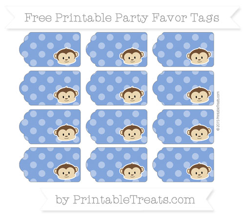 Free Sapphire Blue Dotted Pattern Boy Monkey Party Favor Tags