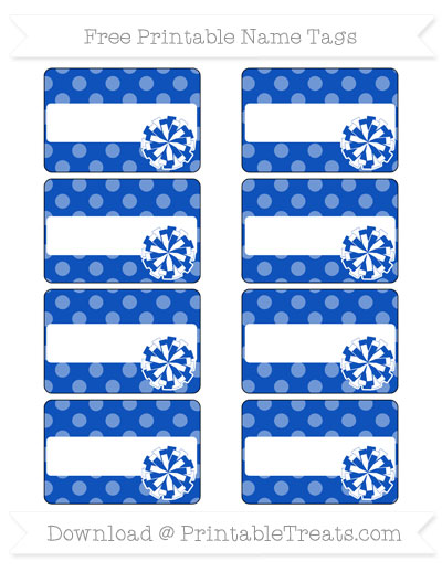 Free Sapphire Blue Dotted Pattern Cheer Pom Pom Tags